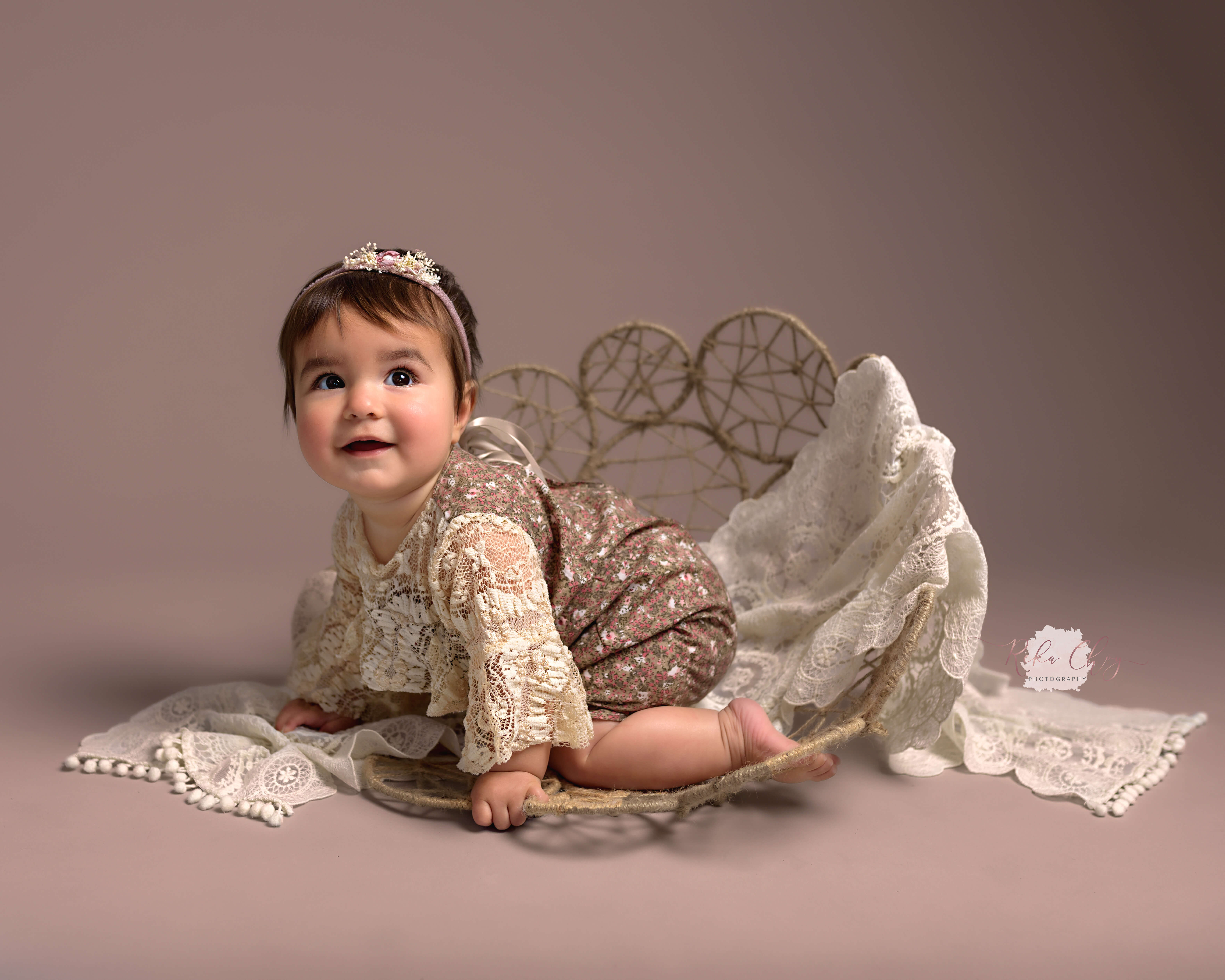 baby at sitter photoshoot vintage clothing